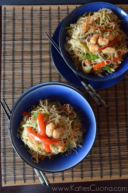 Click Here for: Shrimp and Veggie Lo Mein Recipe from KatiesCucina.com #Recipe #Chinese #HomeTakeOut