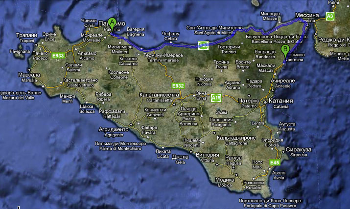 Карта нашего маршрута из Летоянни в Палермо