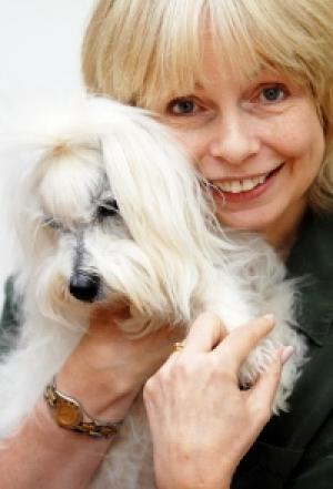 Lalla Ward and her dog Pamba