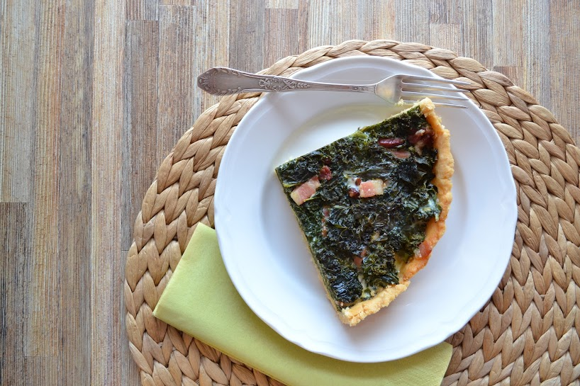 Kale and bacon tart