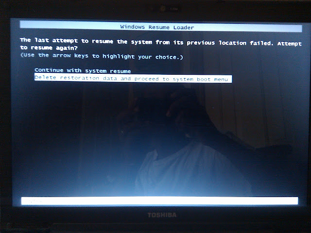 Windows 7: Hanging Windows Vista Resume Loader is Stuck