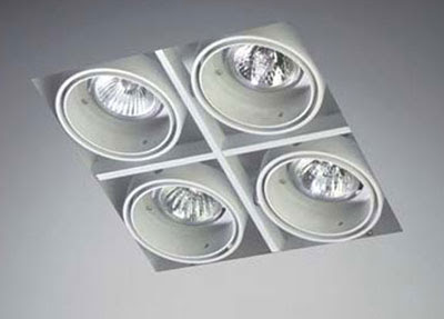 The Multidir Trimless LX628 - Square Downlight, four low voltage ceiling recessed lights, architectural downlight
