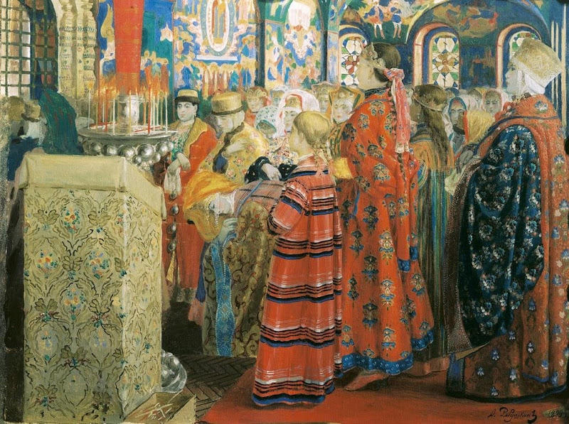 Andrei Ryabushkin - Russian women in the XVII century church