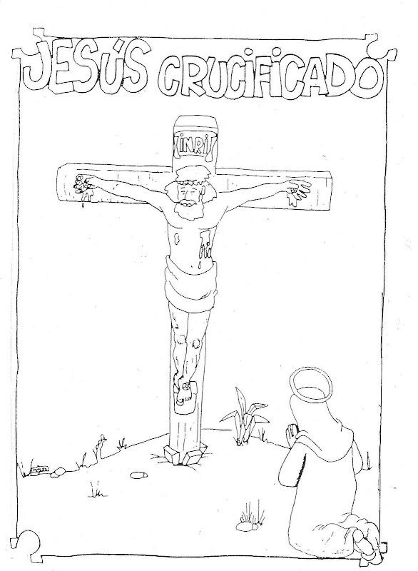 Dibujos Católicos : Jesús crucificado para colorear