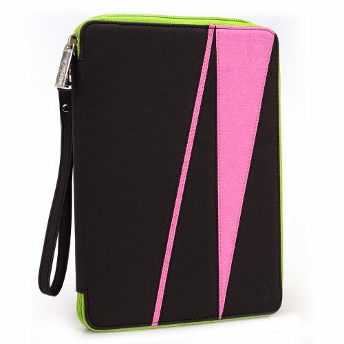 GizmoDorks Travel Folio Zipper Stand Case Cover Pouch for Toshiba Excite 7.7 AT275 with Carabiner Key Chain - Pink