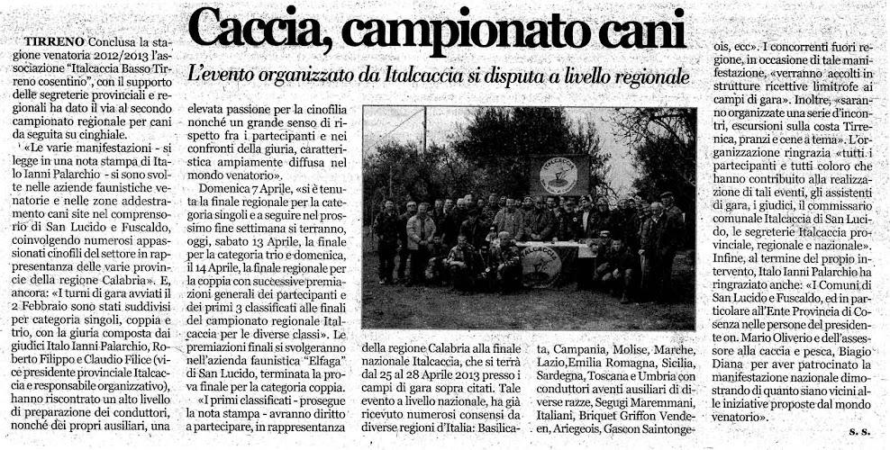articolo italcaccia su quotidiano CALABRIA ORA