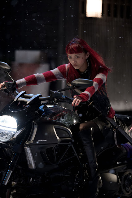 The Wolverine Yukio Rila Fukushima on a bike