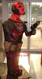 Hellboy figure 46 inch tall custom fondant and chocolate sculpture birthday cake with gun 3