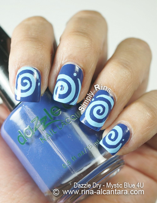 Round and Round Nail Art Design on Dazzle Dry Mystic Blue 4U
