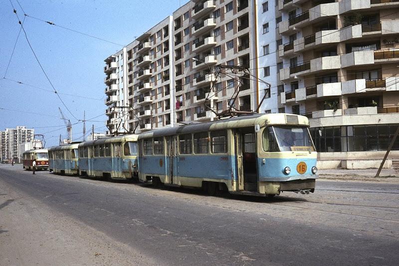 A tram train of 3 Tatras in Galati
