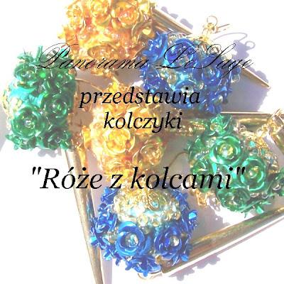 Kolczyki długie wiszące złoto złote róże kule na bogato z kolcami ćwieki błyszczące glam róże złote Rose Gold Panorama LeSage Blog film