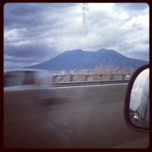 vesuvius volcano in naples view from highway