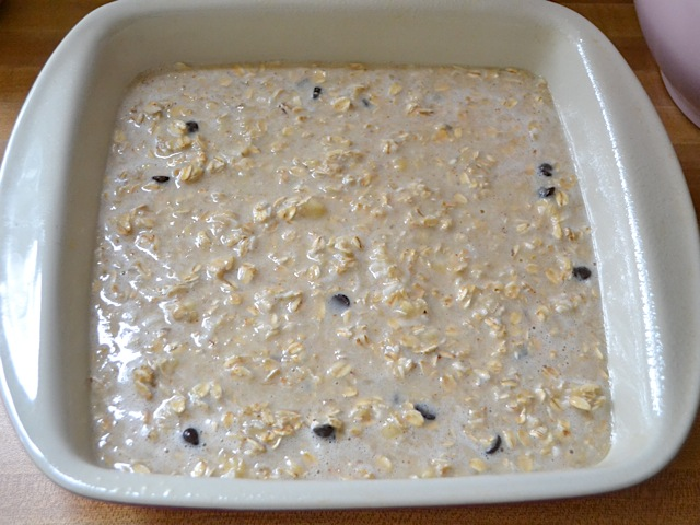 finished mixture poured into square baking dish