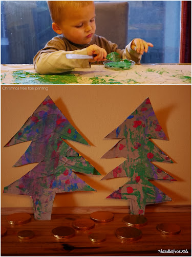 Christmas tree fork printing craft for kids