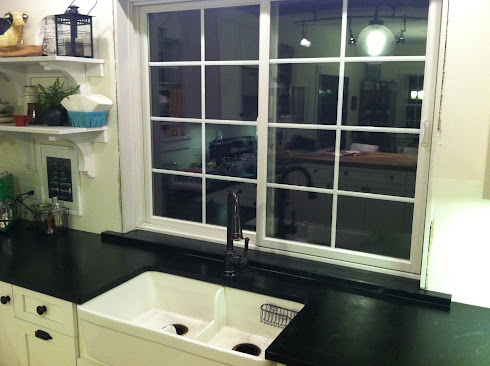 Soapstone window sill on counter height kitchen window
