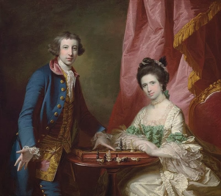 Francis Cotes - Portrait of William Earle Welby, of Denton, Lincolnshire and his first wife, Penelope, playing chess