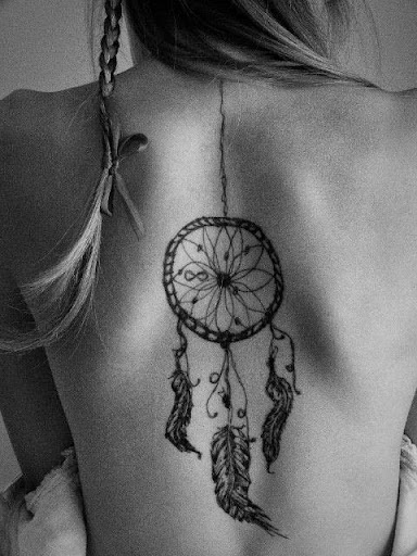 back Dreamcatcher Tattoos for girls