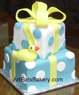 Blue And Yellow Cake Tier Baby Duck