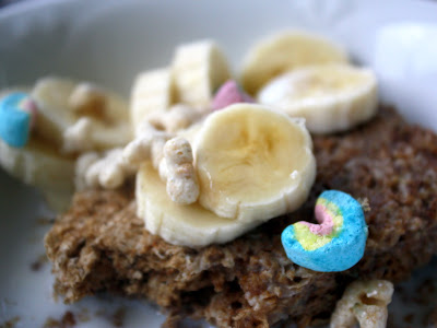 Weetabix with bananas and Lucky Charms