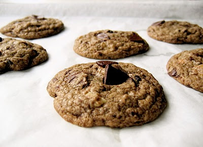 close up of buckwheat chocolate chip cookies