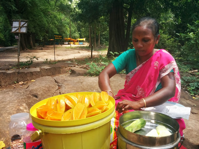 Local vendor selling star fruit and cucumber at Karaiyar
