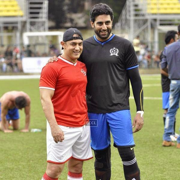Aamir Khan and Abhishek Bachchan during a charity soccer match organised by Aamir's daughter Ira Khan, at Cooperage ground, on July 20, 2014.(Pic: Viral Bhayani)