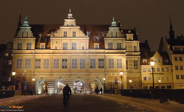 Gdańsk nocą - Zielona Brama od strony Motławy