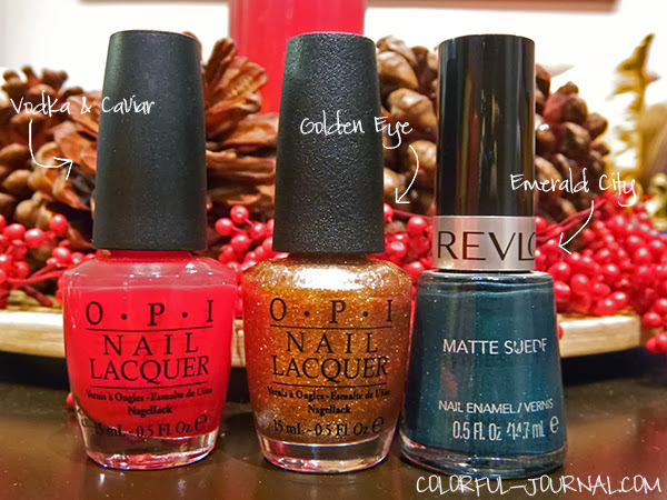 Gold, green and red plaid nails for Christmas opi revlon emeral city vodka & caviar golden eye nail polish