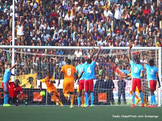 But des Eléphants de la Côte d'Ivoire le 11/10/2014 au stade Tata Raphael à Kinshasa, lors de la victoire contre Léopards de la RDC les score: 1-2. Radio Okapi/Ph. John Bompengo