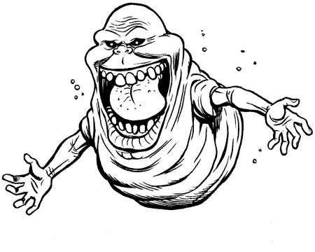 Ghostbusters Cartoon Slimer Coloring Page Sketch Coloring Page