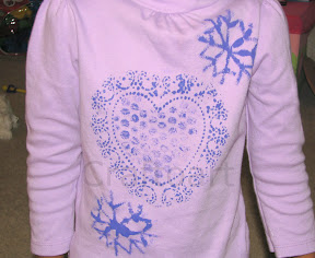 Heart Doily, Bubble wrap, Snow flake stamping