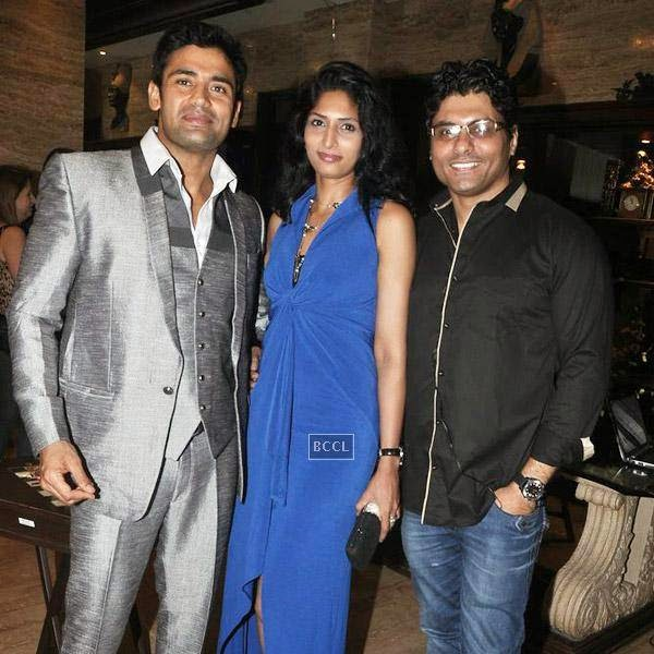 Sangram Singh and Riyaz Gangji pose with a guest birthday Sangram's party, held at Churchgate, on July 20, 2014.(Pic: Viral Bhayani)