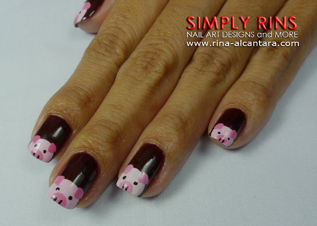 Little Pink Pigs Nail Art Design 01