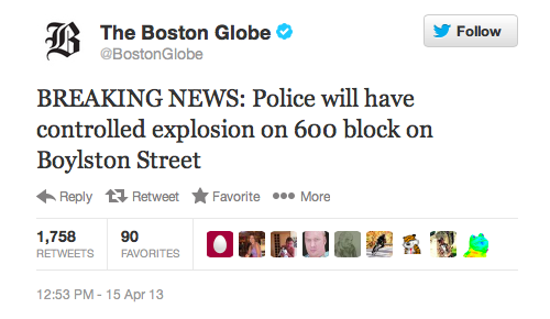 """Boston Globe Controlled Explosion After First Tweet"""