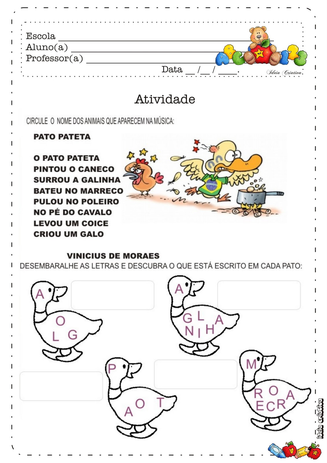 Parte Integrante Do Caderno De 2   Ano Ursinho