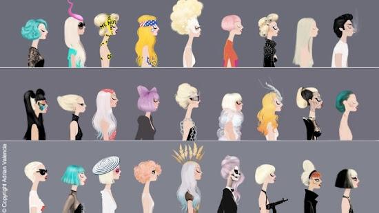 Adrian Valencia Fashion Illustrations Lady Gaga Hairstyles Style
