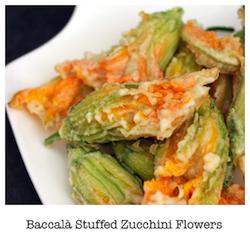 baccala stuffed zucchini flowers