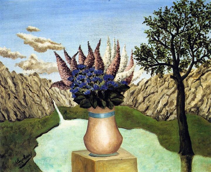 André Bauchant - Flowers in a Rocky Landscape