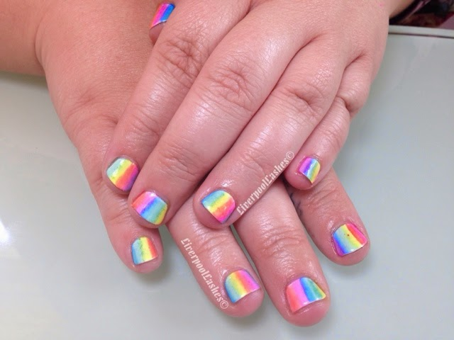 LiverpoolLashes Beauty Blog: My Work: Fun Rainbows On Short Nails