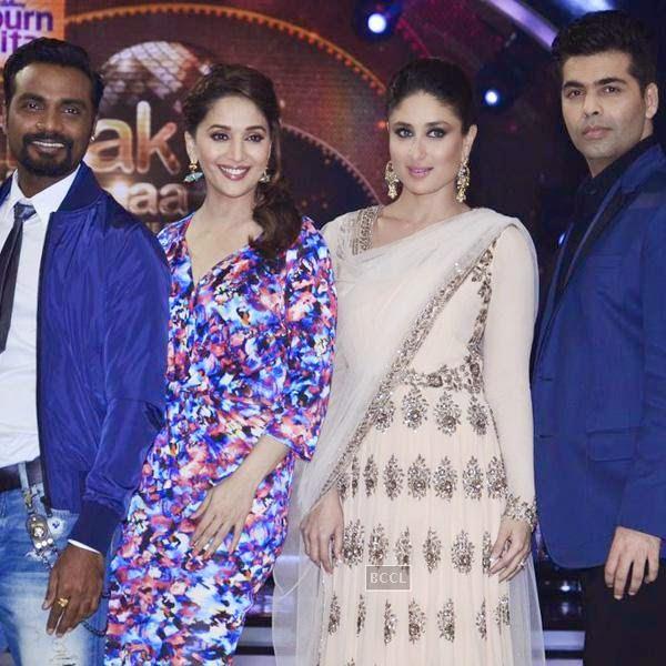 Remo, Madhuri Dixit, Kareena Kapoor and Karan Johar on the sets of Jhalak Dikhhla Jaa 7.(Pic: Viral Bhayani)<br /> <br />