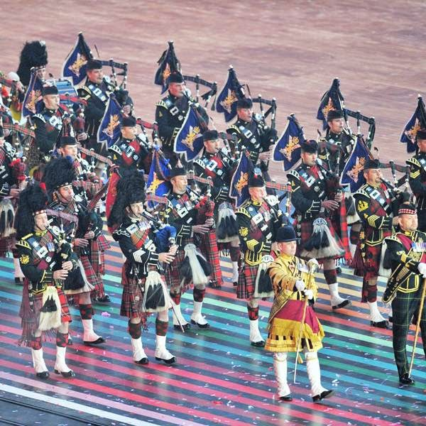 A pipe band performs during the opening ceremony of the 2014 Commonwealth Games at Celtic Park in Glasgow on July 23, 2014.
