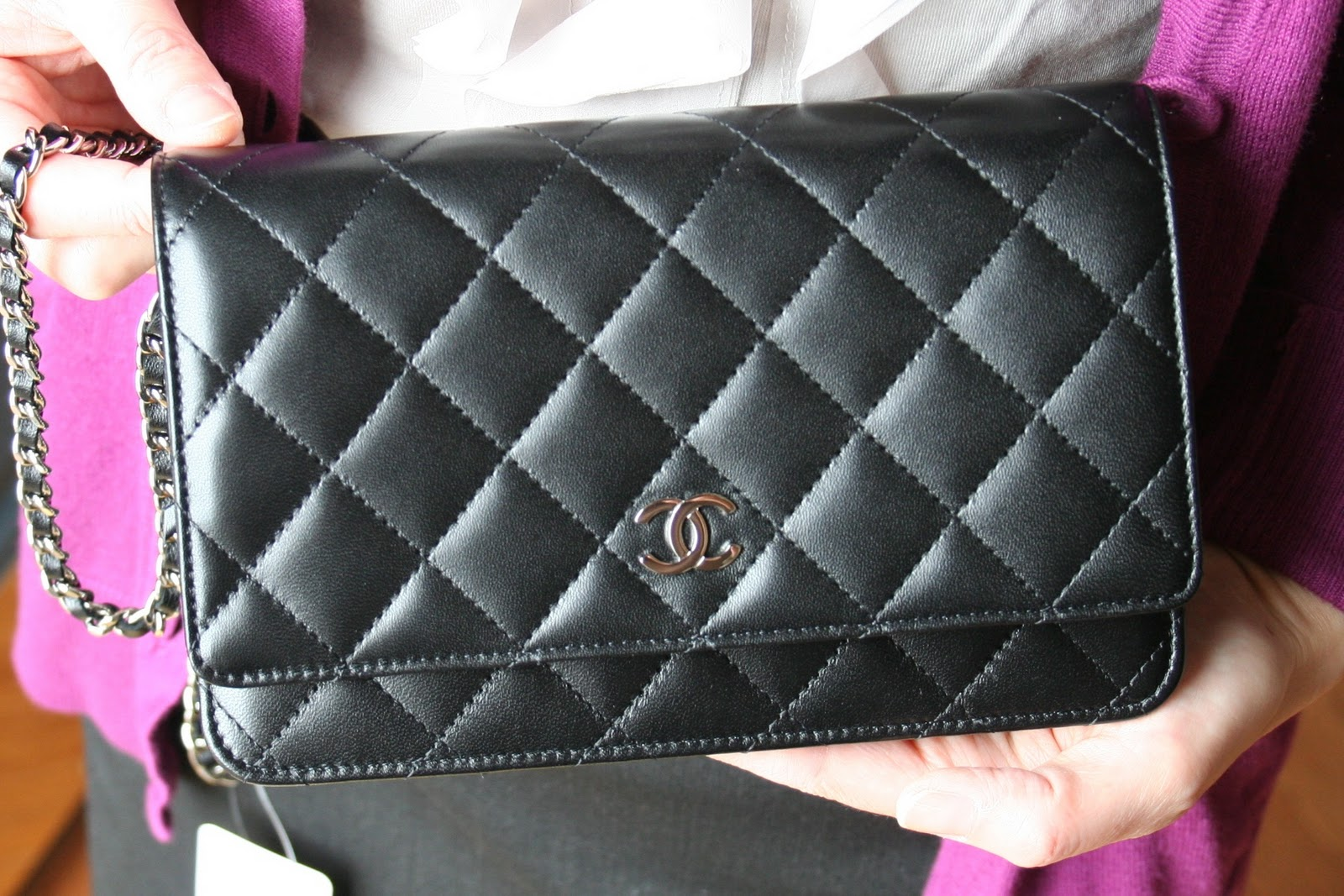 20eecf56507a Number 1  Wallet On Chain (WOC) in quilted lambskin leather with silver  hardware. (Retails  1575)