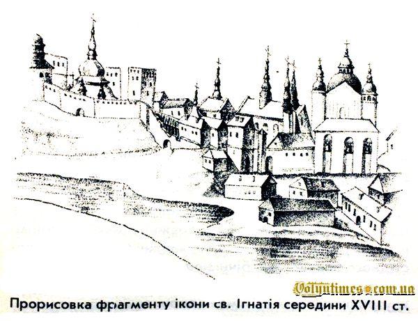 Прорисовка фрагменту ікони св. Ігнатія сер. ХVІІІ ст.