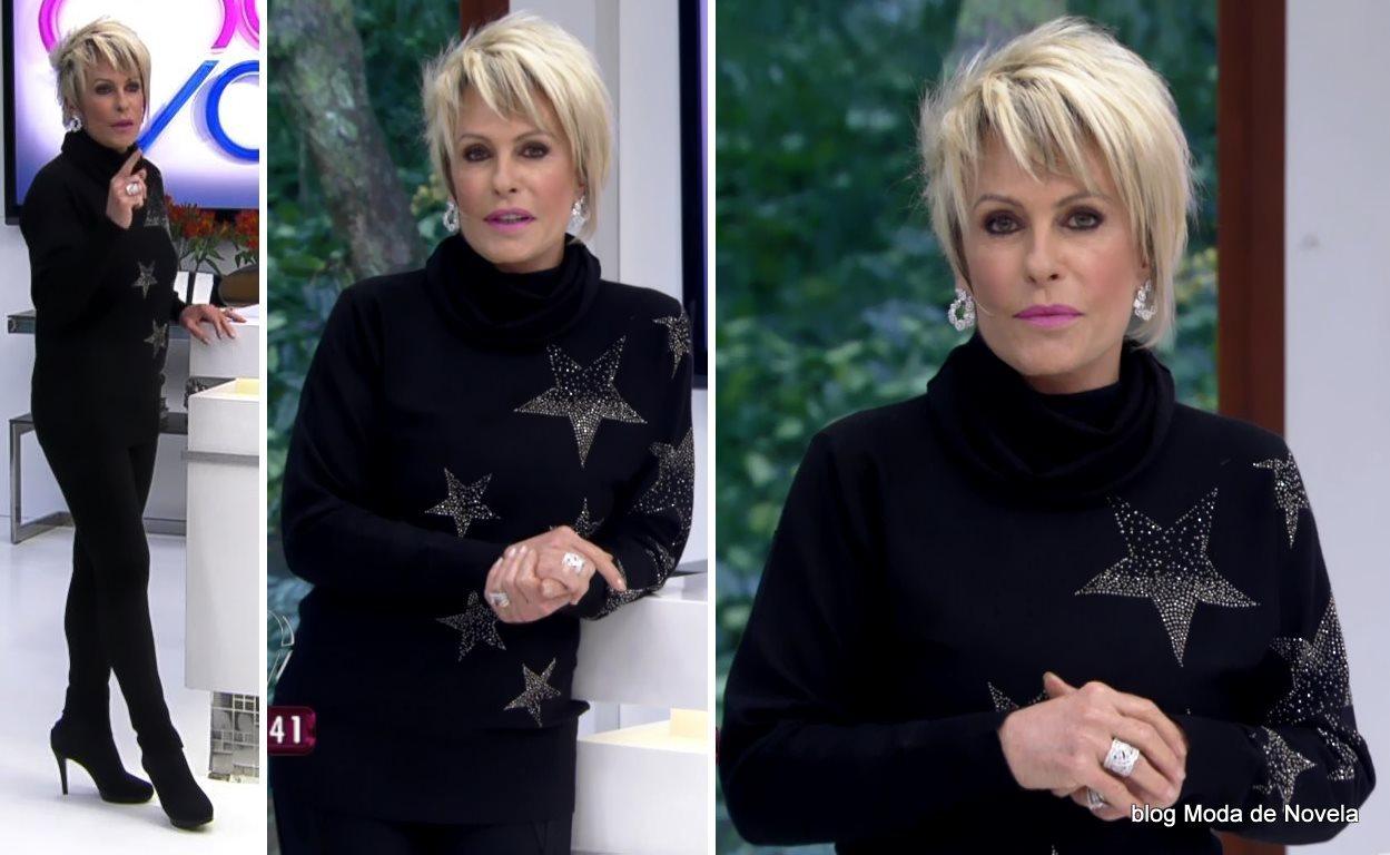 moda do programa Mais Você - look total black da Ana Maria Braga dia 5 de agosto