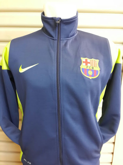 Jual Jaket Barcelona Biru Dongker List Kuning 2014-2015