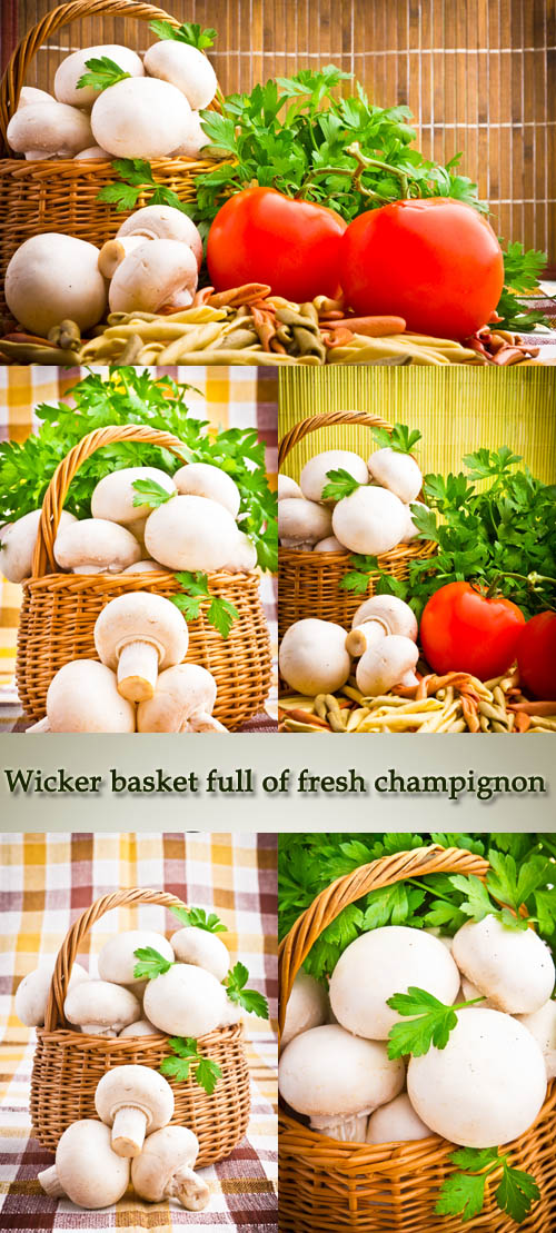 Stock Photo: Wicker basket full of fresh champignon mushrooms