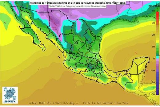 Pronóstico de heladas y temperaturas mínimas para el 3 de enero de 2013