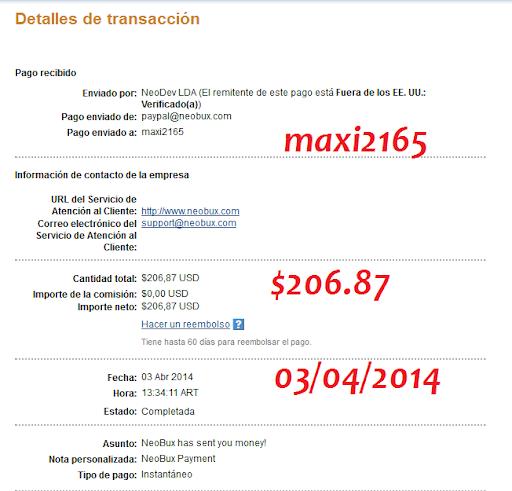 [Con Comprobante] Nuevo pago de Neobux $206.87 03/04/2014 Pago%2520neobux%2520200
