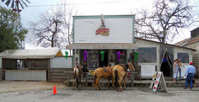 Horses tied in front of the 11th St Cowboy Bar