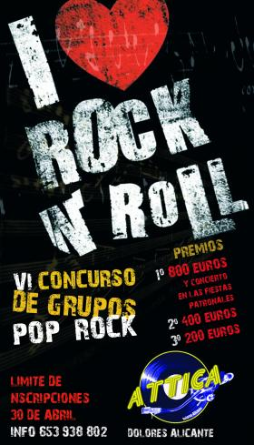 Cartel del VI concurso de grupos Pop Rock 2011 en el pub Attica de Dolores